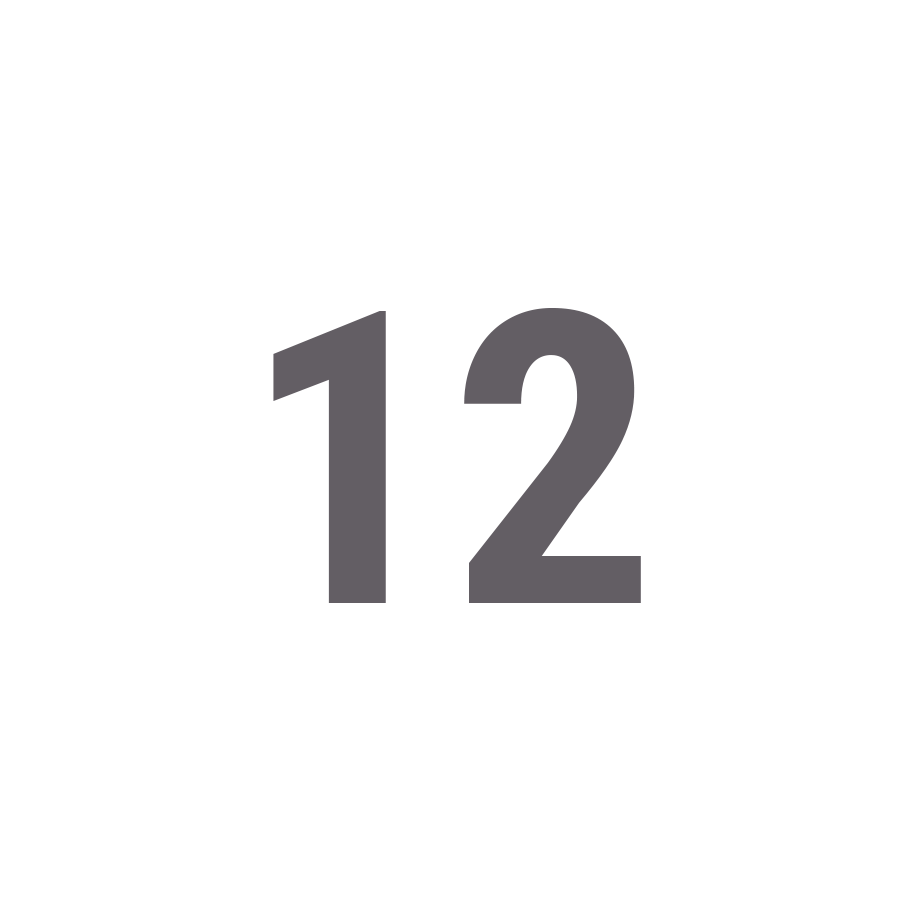 number 12 in a white circle